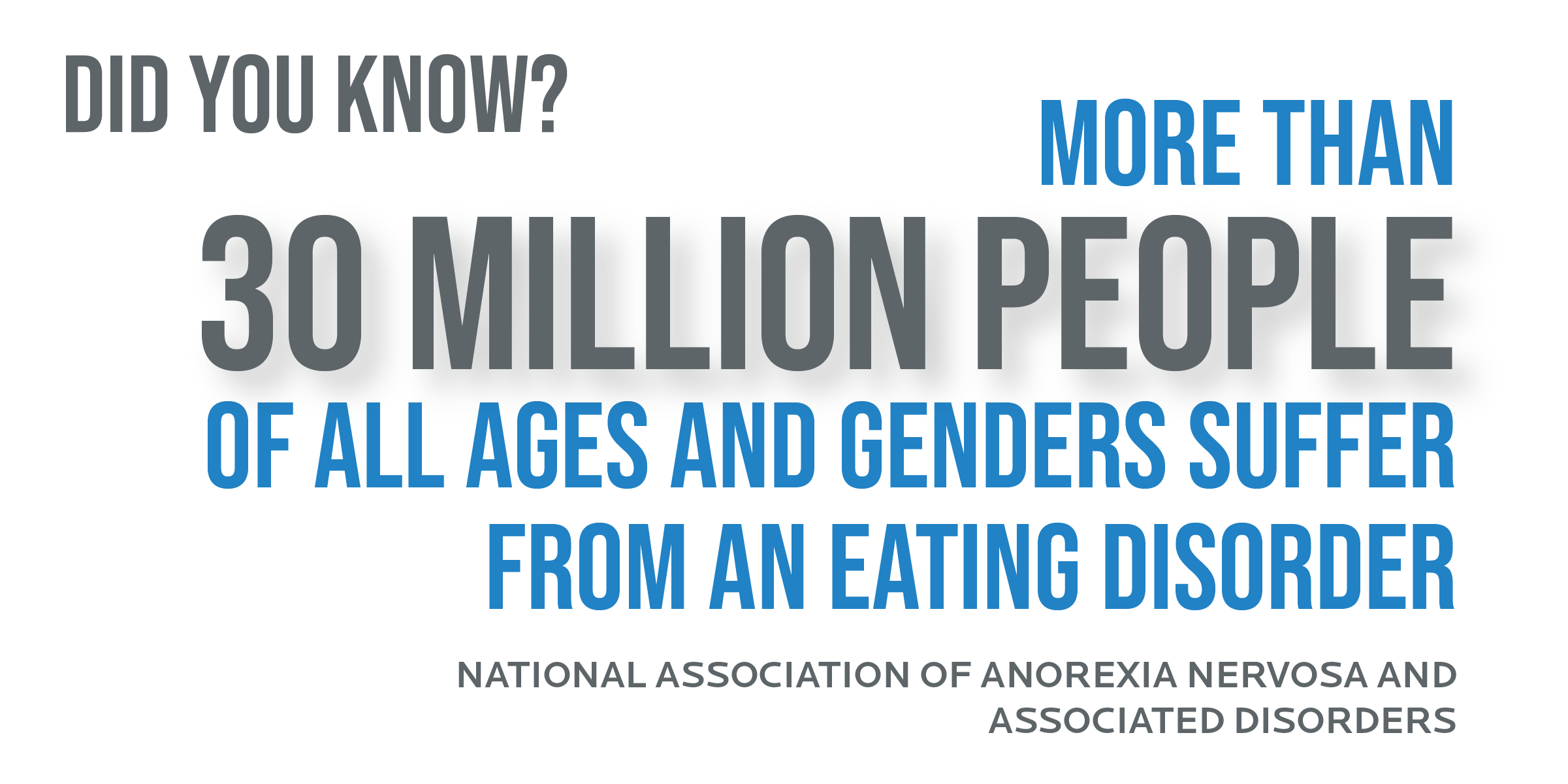 More than 30 million people of all ages and genders suffer from an eating disorder